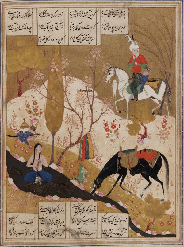 Nizami_-_Khusraw_discovers_Shirin_bathing_in_a_pool_mid-16th-century