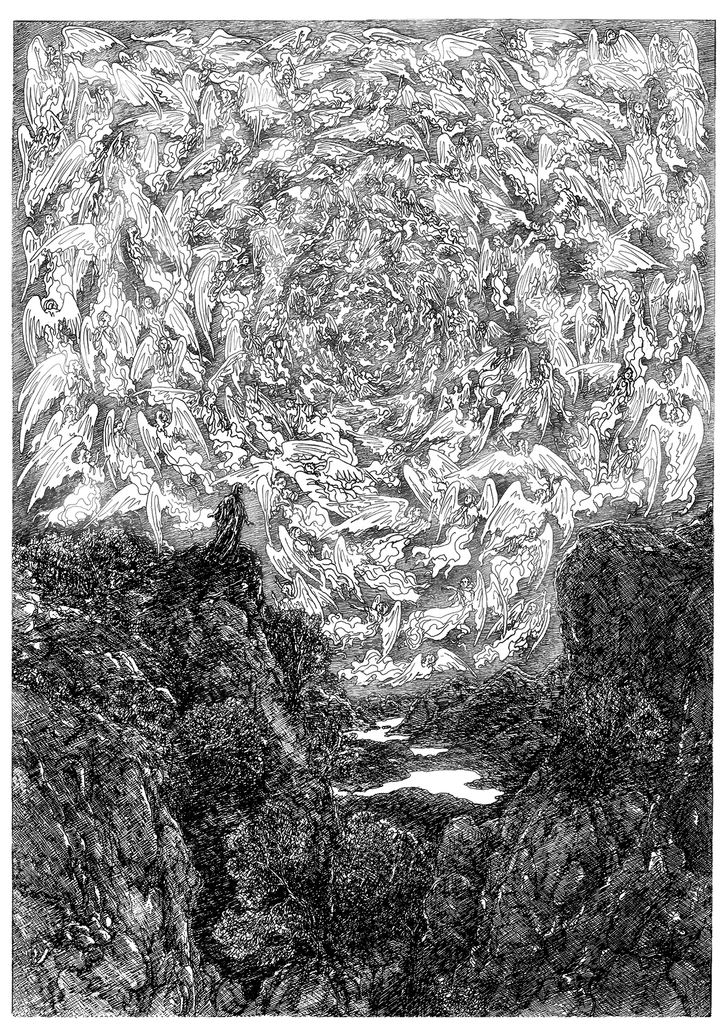 THUS SPAKE ZARATHUSTRA (PLATE #1) - Zarathustra's Prologue 1 (Drawing, 15.7 W x 22.4 H in, 2100 X 2970 pixels, © 2015 C. Panzner, all rights reserved)sm